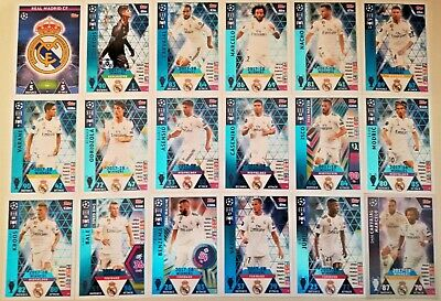 Match Attax Uefa Champions League 2018/19 Full Set Of All 18 Real Madrid Cards
