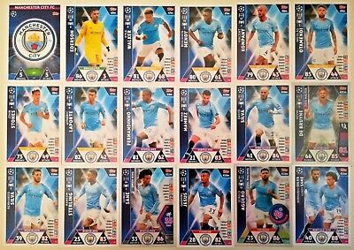 Match Attax Uefa Champions League 2018/19 Full Set Of All 18 Manchester City