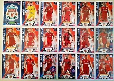 Match Attax Uefa Champions League 2018/19 Full Set Of All 18 Liverpool Cards