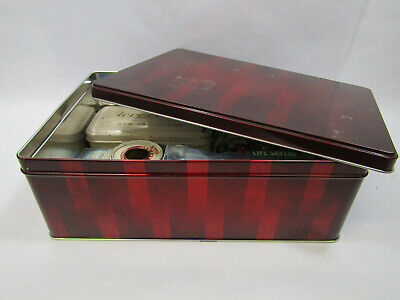 Metal Tin Box w/Vintage Sewing Notions Tapes Bobbins Sewing Machine Accessories