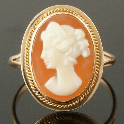 Vintage Solid 14K Yellow Gold & Carved Natural Shell Cameo, Estate Ring, NR!