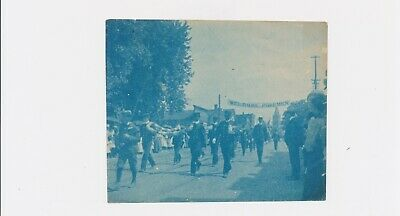 Very Rare Blue Photograph Circa 1917 Vintage Cyanotype Welcoming Firemen History