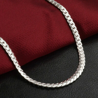 "Fashion Jewelry Necklace 20"" inch 925 Silver Pendants Men Women Chain 5mm HOT"
