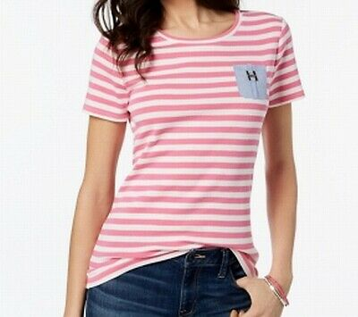 Tommy Hilfiger Womens Pink Size Small S Striped Chambray-Pocket T-Shirt $39 #152