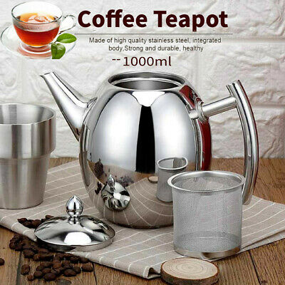 1L Stainless Steel Teapot Tea Pot Coffee Kettle With Tea Leaf Strainer Infuser
