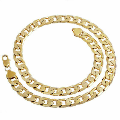 "Filled Gold Necklace 24"" Men's Boy Chain Cuban Steel 18K Stainless Jewelry Curb"