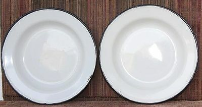 2 Pc Enamel Plates Old Vintage Antique Home Decor Kitchenware K-20
