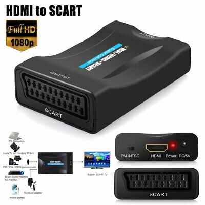 HDMI To SCART 1080P Video Audio Upscale Converter Adapter HD TV DVD SkyBox New