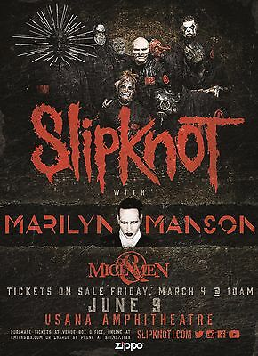 SLIPKNOT/MARILYN MANSON/OF MICE & MEN 2016 SALT LAKE CONCERT TOUR POSTER - Metal