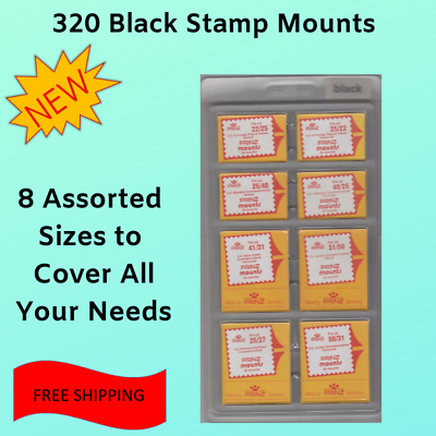 Prinz Scott Stamp Mounts Assortment 8 Sizes 320 Mounts Black Stamp Collector New