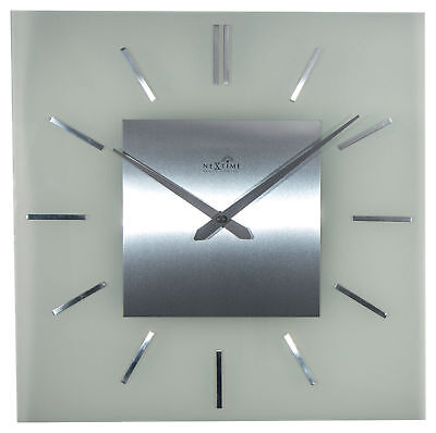 Nextime Wall Clock Stripe Square Radio Controlled 40x40cm Glass RC Watch