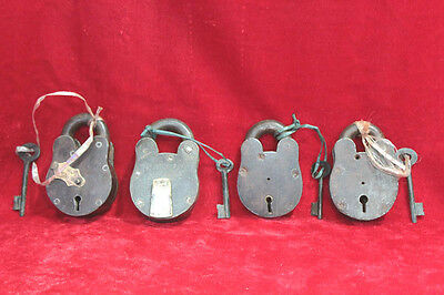4 Pc Iron Brass Lock and Keys Old Home Safety Antique Collectible PW-83