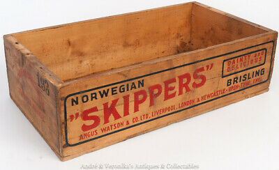 """Vintage NORWEGIAN """"SKIPPERS"""" Wooden Crate Patina Wood Old Can Fish Box Antique"""