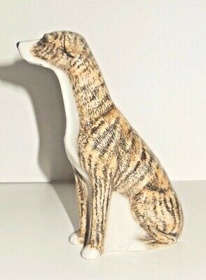 QUAIL CERAMICS - 10 CM GREYHOUND BRINDLE FIGURE - light