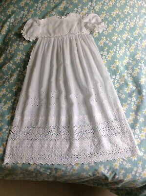 Beautiful Vintage Cotton Broderie Anglais Baby Christening Long Dress