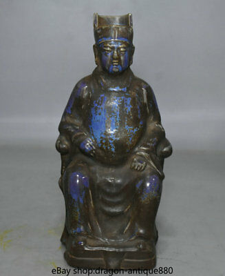 "10.4"" Old Chinese Blue Glaze Porcelain Palace Zhu Yuanzhang Emperor Sculpture"