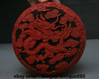 "7.2"" Old Chinese Red lacquerware Dynasty Dragon Loong Round jewelry Box casket"