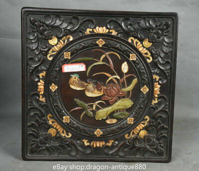 "10"" Old Chinese Redwood inlay Shell lotus leaf Mandarin Duck storage Jewelry box"