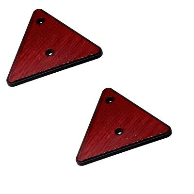 2 x Red Safety Triangle Reflectors w/ Screw Holes Mounting on Trailer Rear