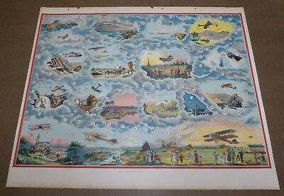 Genuine Antique Print Vintage 1920 Poster Game Board Aviation Wwi Airplanes