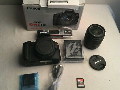 Canon EOS Rebel T6 18.0 MP Digital SLR Camera w/ EF-S 18-55mm IS II Lens +16GB
