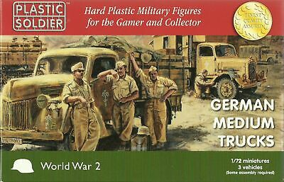 Plastic Soldier 1/72 German Medium Trucks (3 Fast Assembly Vehicles)