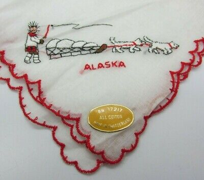Vintage Switzerland Cotton Embroidery Inuit ALASKA HUSKIES Dogsled Handkerchief