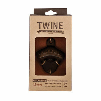 Twine Rustic Farmhouse Wrought Iron Vintage Look Wall Mounted Beer Bottle Opener
