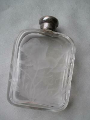 BEAUTIFUL ENGRAVED CRYSTAL PERFUME BOTTLE w/ STERLING TOP