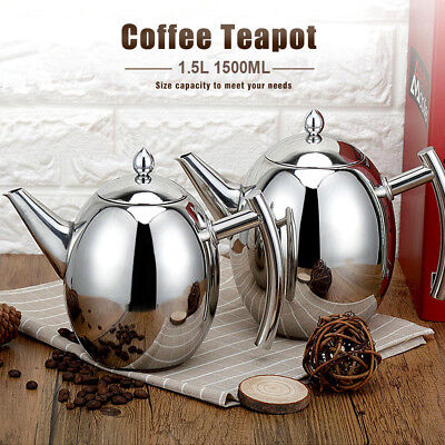 1.5L Stainless Steel Teapot Coffee Kettle With Tea Leaf Strainer Infuser