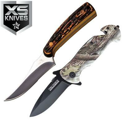 2pc Set Camo Tactical Fixed Blade Hunting Survival Spring Assisted Pocket Knife