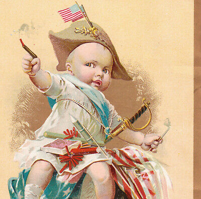 Firecrackers 1800's 4th of July Patriotic McLaughlin Coffee Victorian Trade Card