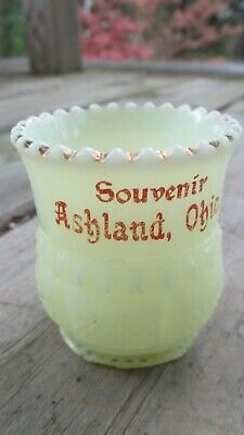 Vintage Souvenir Ashland Ohio Custard Glass Toothpick Holder EAPG Gold Accents