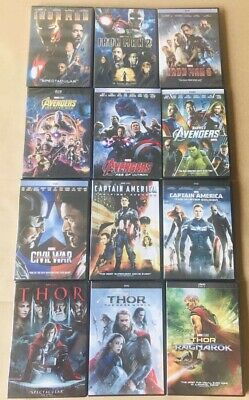 12 Marvel Movies Collection Captain America & Thor & Avengers & Iron Man DVD NEW