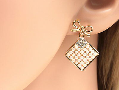 unique crystal white pearl beads girl fashion gold bowtie wedding earrings R22