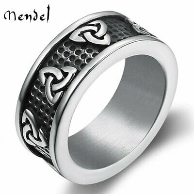MENDEL Mens Stainless Steel Celtic Trinity Knot Wedding Band Ring Sign Size 7-13