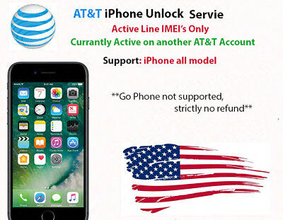 USA AT&T active on another account iPhone all model permanent unlock