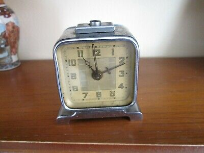 LOVELY LITTLE ART DECO c1930'S CHROME CUBE SHAPED CLOCK PROBABLY FRENCH NOW £17