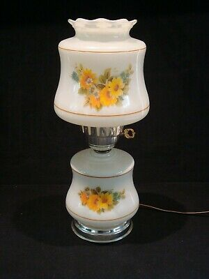 Excellent Vintage 3 Way Table Parlor Lamp Autumn Fall Yellow Daisy Flowers GWTW