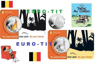 BELGIQUE  2  X  PIECES    DE  5  EURO     TINTIN   6250  EX     2019  disponible