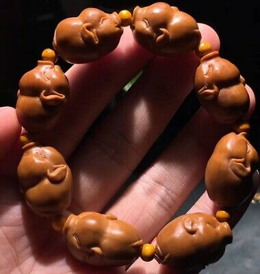 Excellent Chinese Olive Nut Pure Hand-carved *Lucky Pig* Bracelet