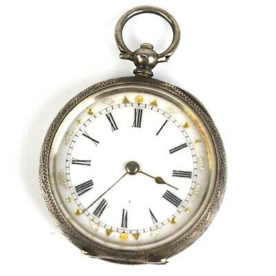 An Antique / Vintage Hallmarked 935 Sterling Silver Cased Pocket Fob Watch