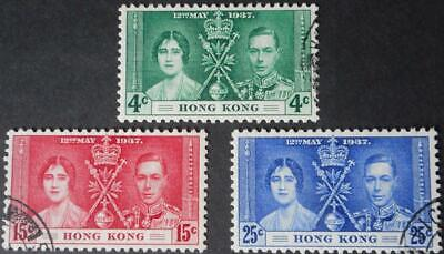 Hong Kong 1937 GVI Coronation set SG 137/139 used