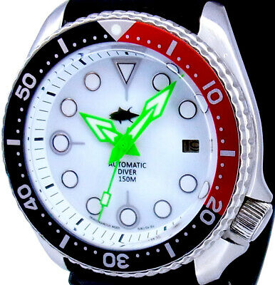 """Vintage Watch SEIKO Diver 7002 Mod w/Neon Green """"Spear"""" on White Mother of Pearl"""
