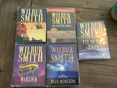 Wilbur Smith Audiobooks Cassette Bundle X5 Eye of the tiger Warlock blue horizon