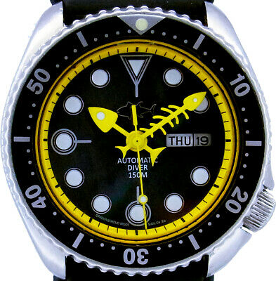 Vintage SEIKO 6309 Diver Mod w/all Yellow Fishbone on Black Mother of Pearl Dial