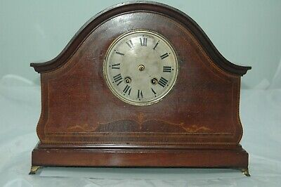 Antique Hac Inlaid Mahogany Mantle Clock To Restore.