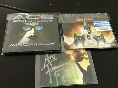 """2-CD Lot Ace Frehley (KISS) Autographed Signed """"Anomaly""""/""""Space Invader"""" Poster"""