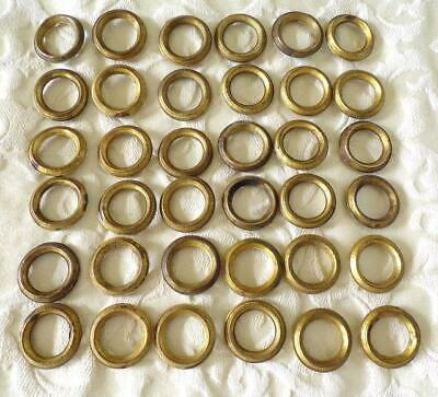36 Small Vintage French Matching Tole Wear Curtain Pole Rings