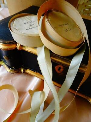 Two Delightful Antique Reels Of Silk French Ribbon C.1900